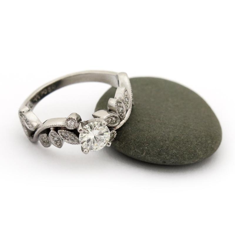 Palladium Moissanite engagement ring with diamond lace detail (VC1651)